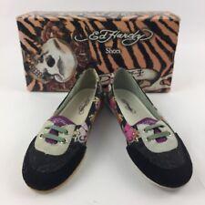 Ed Hardy Eye Candy Love Kills Slowly Comfor Flats Shoes Canvas Women Sz 5 M New