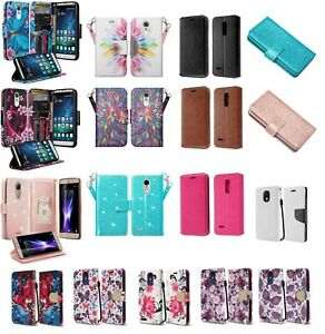 LG K30 Design Wallet Credit Card ID Cash Kick Stand Flip Cell Phone Case Cover