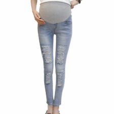 For Maternity Elastic Skinny Ripped Jeans Pregnancy Over The Bump Trousers