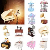 Piano Model Music Box Carousel Hand Crank Musical Boxes Birthday Gift Home Decor