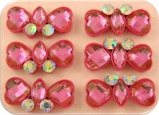 2 Hole Beads Heart & Marquis Facets PINK w/AB Swarovski Crystal Elements ~ QTY 6