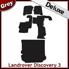 Landrover Discovery 3 Tailored LUXURY 1300g Car + Boot Mats 2 Clip GREY