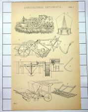 Vintage Agricultural Implements Antique 1890 Print