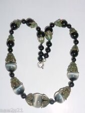 Art Deco Cats Eye glass bead necklace graduated beads