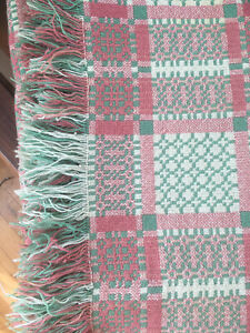 Vintage Welsh Tapestry Blanket, Gorgeous Green And Pink Wool