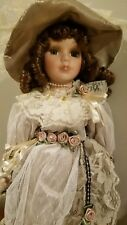 """Nib Victorian Vintage Porcelain 16"""" Doll with doll stand"""