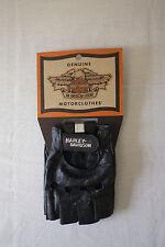 Harley-Davidson Women's Vintage Black Leather Open Tip Gloves Large 98155-84V