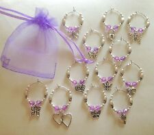12 Sparkly Hearts & Butterflies Wine Glass Charms Birthday Hen Wedding Party