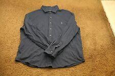 Men's Ralph Lauren Polo Knit Dress Shirt XXL 2XL Blue Long Sleeve Button up