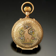 Majestic Stag Design Multicolor Gold 18-Size Hunter Case Waltham Pocket Watch