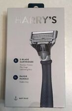New Harry's Navy Blue Truman Handle Razor Kit Set with 2 Blade Cartridges NIB