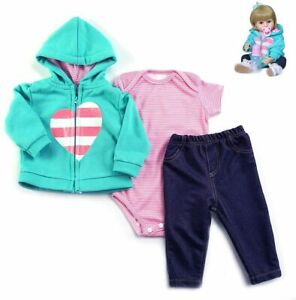 """Reborn Toddler Girls Clothes for 24"""" Reborn Dolls Accessories 3pcs Clothing Sets"""