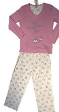 Pink & Cream Pyjama Set Size 18 - 20 Cotton Blend Long PJs with Coffee Cup Logo