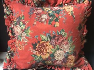 1 RALPH Lauren *AYLESBURY EURO Pillow SHAM Ruffled Vintage RED Barkcloth FLORAL