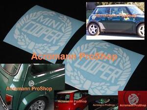 "2x 3.5""8.9cm Mini Cooper Laurel Decal Sticker classic works austin morris stripe"