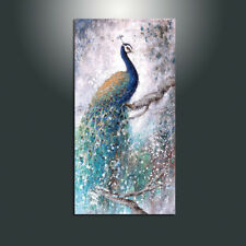 "MODERN ABSTRACT HUGE WALL ART OIL PAINTING CANVAS ""An elegant Peacock""(No Frame)"