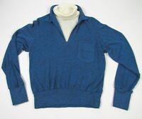 Vintage 70s Brent Layered Look Turtleneck Sweater Pullover Mens M Blue Ivory