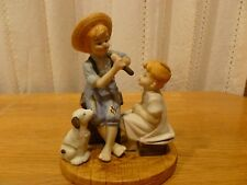 Vintage Norman Rockwell Porcelain Figurine 2 Children & a Dog