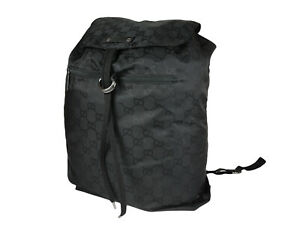 GUCCI GG Web Nylon Canvas Black Backpack Bag GR2473