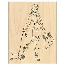 PENNY BLACK RUBBER STAMPS GIFTS GALORE LADY SHOP WITH DOG NEW wood STAMP