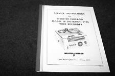 Webster Chicago 18 Wire recorder service manual reprint