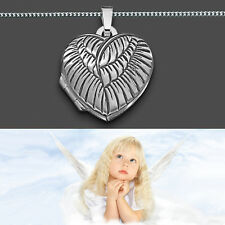 Foto Medaillon Engelsflügel Herz Amulett Bilder Anhänger Silber 925 inkl. Kette