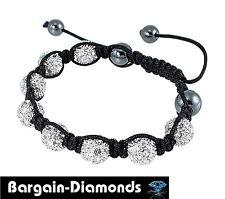 shamballa black silk macrame 8 silver tone disco balls bracelet white xls unisex