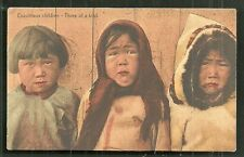 Eskimo Children Boy Girl Costume Canada ca 1910