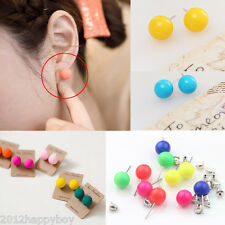 Fashion Women Fluorescence Candy Color Round Ball Pearl Ear Stud Earring Jewelry