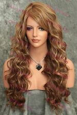 Light Brown/Blonde Mix Long Layered Curly Heat OK Synthetic Hair Wig SAKW 8642