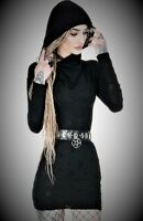Restyle Black Long Sleeves Ripped Hood Sweater Mini Dress for Gothic Punk Women