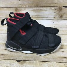 452a47630fd13 Nike Lebron James Soldier 11 Boys Sneakers Basketball Shoes Size 4.5 Y  Black Red