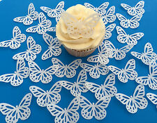 32 Edible White Butterflies Pre Cut Wafer Cupcake Toppers