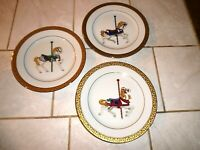 Lot of Three Royal Gallery Gold Buffet Carousel Horse Plates 8 1/2 inch