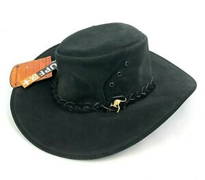 NWT Kakadu Alice Small Suede Leather Black Australian Outback Hat 5H17