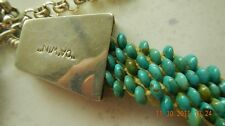 """Necklace, 1200+ turquoise beads, 30.5in, Jimmy """"Ca'Win"""" Calabaza, 2000"""