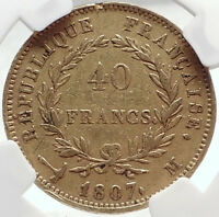 1807 FRANCE Napoleon Bonaparte BIG 40 Francs Antique French Gold Coin NGC i70400