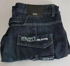 Enzo Mens Biker Jeans W38 L35 Blue Relaxed Fit 38x35 Size Waist 38in Leg 35in