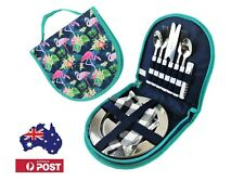 Picnic set for 2 with SS Cutlery and SS plates, Cute Compact Travel Cutlery Set
