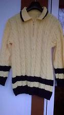 Wunderschöner Pullover<NEU<Goldgelb mit dicken Zopfmuster Gr.40/42<TOP<Schick!