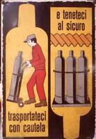 Targa insegna cartello di pericolo da cantiere deposito anni 70 vintage