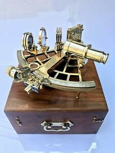 """Nautical Brass Sextant Instrument with Wooden Box Marine Working Sextant 9"""" Full"""