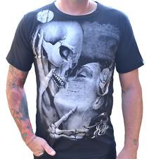 "Rockabilly Men's T Shirt ""RICH TATTOO PRINT"" Skull BLACK LARGE ONLY"