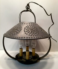 Rustic Punched Tin Hanging Light Fixture 4 Candle Pie Tin Base Primitive