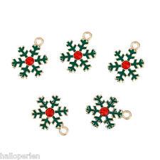 5PCs Gold Plated Green Snowflowers Shape Christmas Pendants 23x17mm