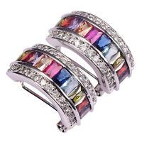 Morganite Topaz Garnet Amethyst Peridot Ruby 925 Sterling Silver Stud Earrings