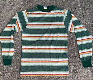 8 1970/'s Children/'s Boy/'s Seersucker Pajama Top  Short Sleeve  Stripes  Mint Pastel Green  Sz