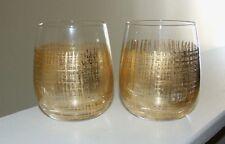 Modern Expressions Stemless Wine Glasses - Gold Leaf Criss Cross - Set of 2
