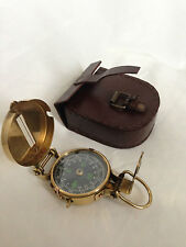 Solid Brass Nautical British  Military Lensatic Pocket Compass with Leather case
