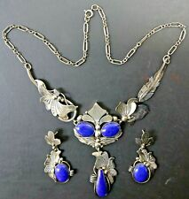E Piaso Navajo 925 Sterling Silver & Lapis Lazuli Necklace & Earring Jewelry Set